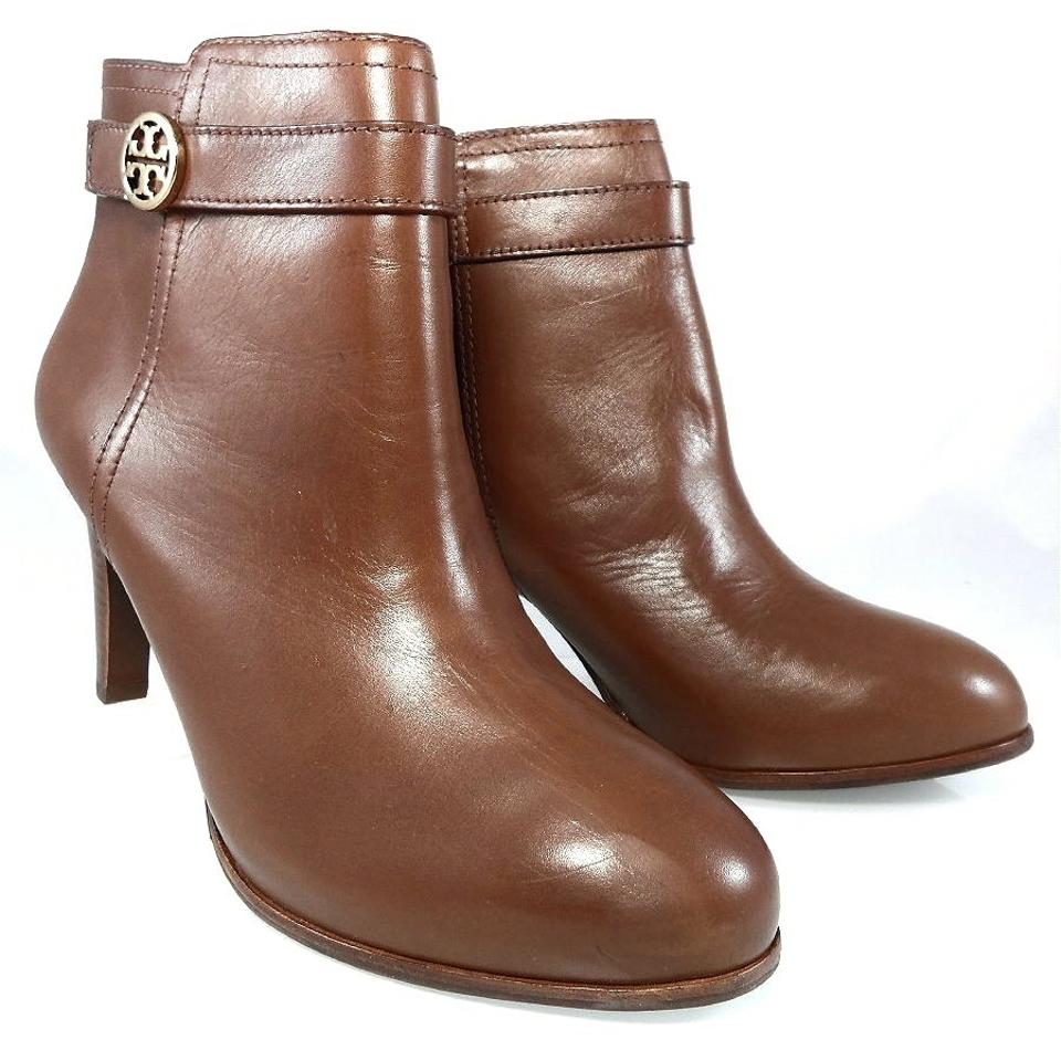 cf79c3f47146 Tory Burch Leather Stiletto Logo Gold Hardware Brown Boots Image 5. 123456
