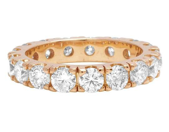 Jewelry Unlimited 10K Rose Gold Diamond Solitaire Eternity Wedding Band Ring 4.95 CT 4MM Image 2