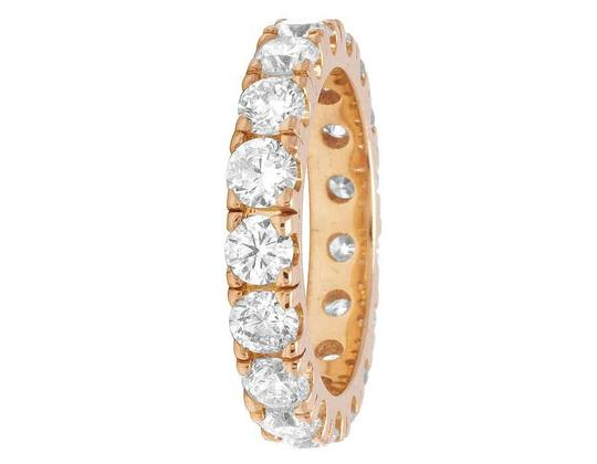 Jewelry Unlimited 10K Rose Gold Diamond Solitaire Eternity Wedding Band Ring 4.95 CT 4MM Image 3