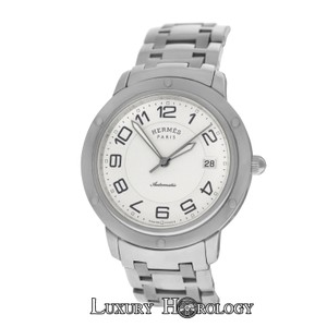 Hermès Authentic Mens Hermes Clipper CP2.810 Date Steel Automatic 39MM Watch