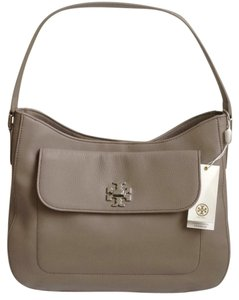 Tory Burch Silver Hardware Pebbled Leather Hobo Bag