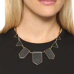 House of Harlow 1960 14k gold plated five station black leather necklace