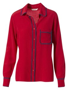 Tucker Silk Blouse Shirt Button Down Shirt Red