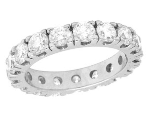 Jewelry Unlimited 10K White Gold Diamond Solitaire Eternity Wedding Band Ring 4.95 CT