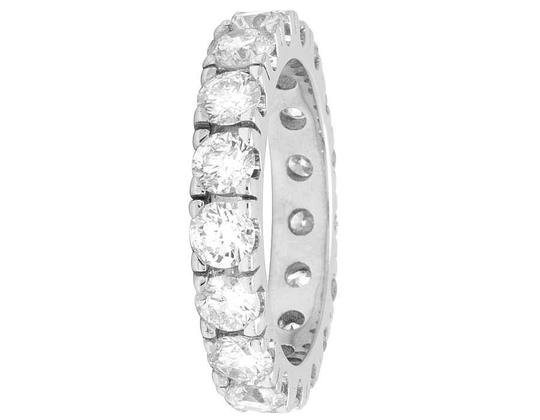 Jewelry Unlimited 10K White Gold Diamond Solitaire Eternity Wedding Band Ring 4.95 CT Image 2
