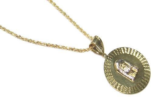 other 10K Yellow Gold Rope Chain with Jesus Face Pendant Image 1