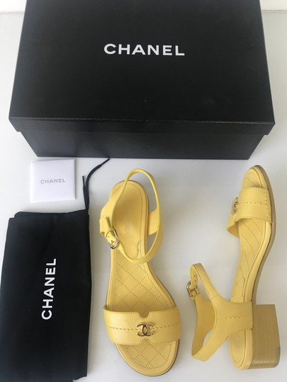 Chanel Heel Pump Ankle Strap Logo Yellow Sandals Image 1