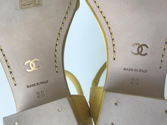 Chanel Heel Pump Ankle Strap Logo Yellow Sandals Image 10