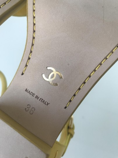 Chanel Heel Pump Ankle Strap Logo Yellow Sandals Image 11