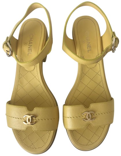 Chanel Heel Pump Ankle Strap Logo Yellow Sandals Image 2