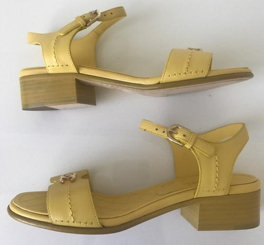 Chanel Heel Pump Ankle Strap Logo Yellow Sandals Image 3