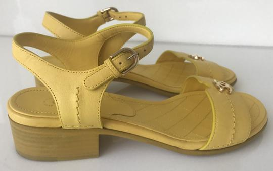 Chanel Heel Pump Ankle Strap Logo Yellow Sandals Image 4