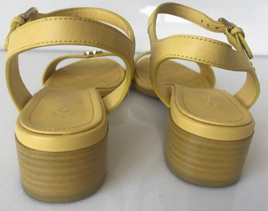 Chanel Heel Pump Ankle Strap Logo Yellow Sandals Image 5