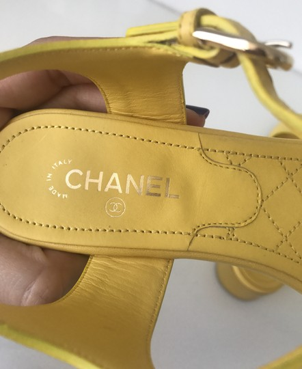 Chanel Heel Pump Ankle Strap Logo Yellow Sandals Image 6