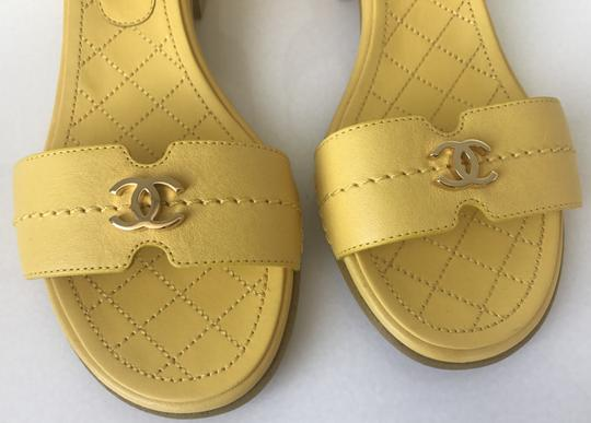 Chanel Heel Pump Ankle Strap Logo Yellow Sandals Image 7