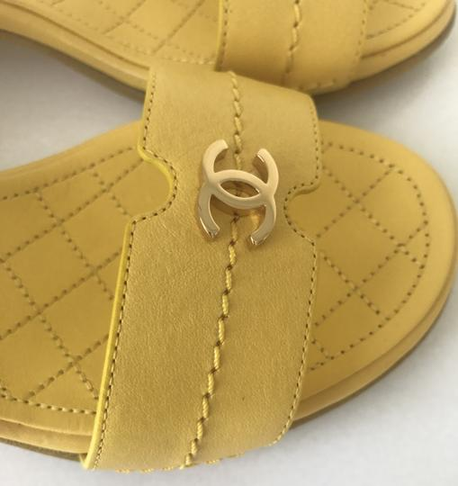 Chanel Heel Pump Ankle Strap Logo Yellow Sandals Image 8