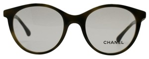 Chanel Round Taupe Green/Black With Beaded Crystals Eyeglasses 3363 B c.1577