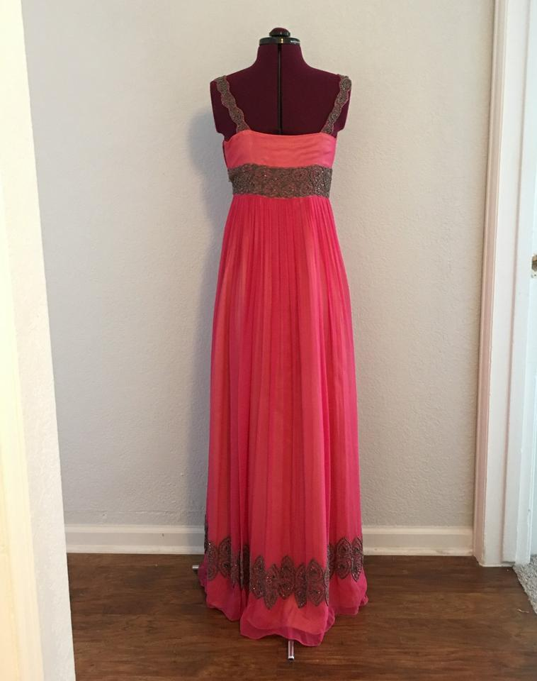 Adrianna Papell Fuschia Pink Evening Gown Sequin Beaded Maxi Long ...