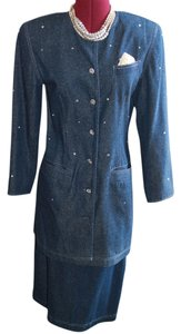 Bonavitacola cocktail attire with sewn in rhinestones all over jacket. Light weight silk denim