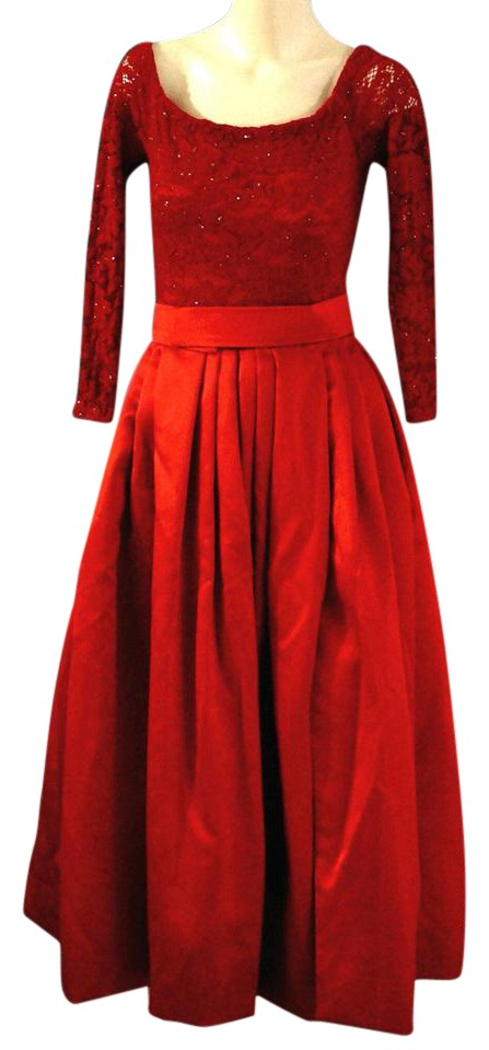 Lillie Rubin Red Vintage Glitter Lace Satin Maxi Prom Gown Long ...