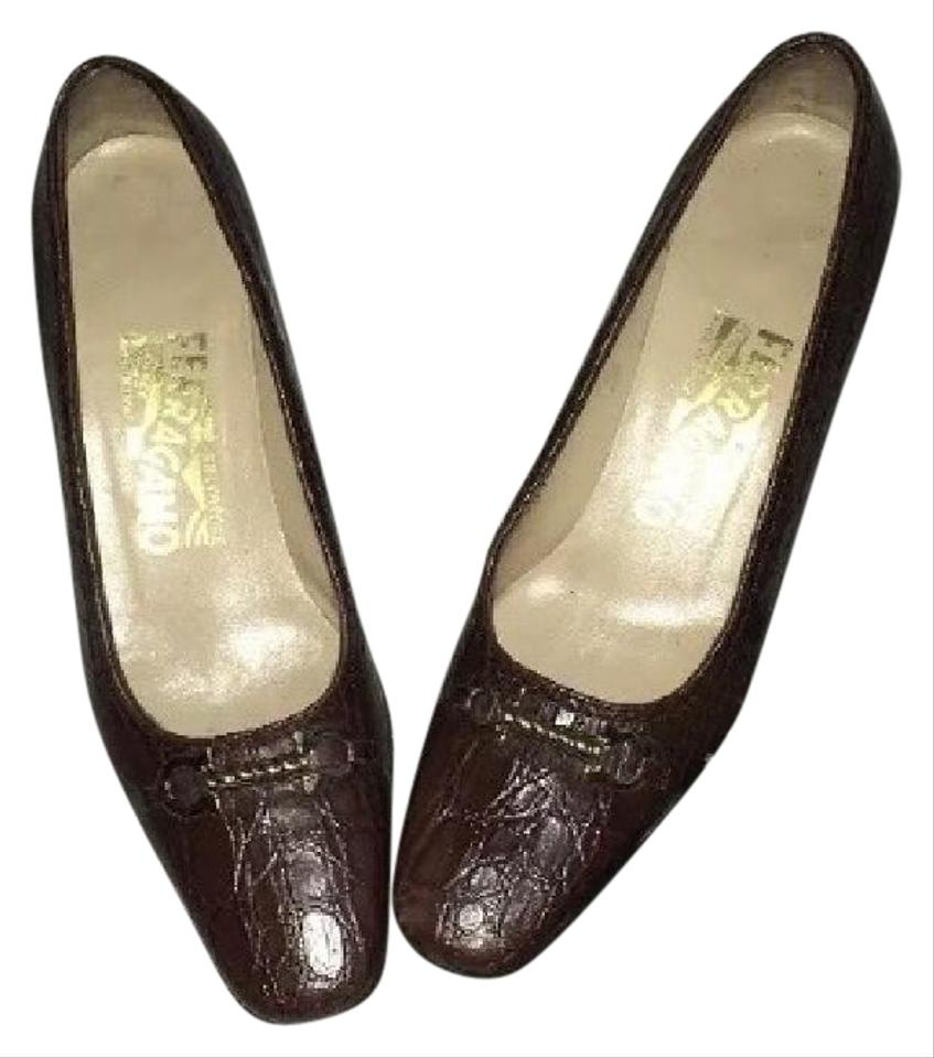 salvatore ferragamo n a brown pumps on sale 70 off pumps on sale. Black Bedroom Furniture Sets. Home Design Ideas