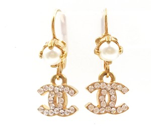 Chanel Chanel Gold Plated Faux Pearl Crystal CC Dangle Lever Earrings