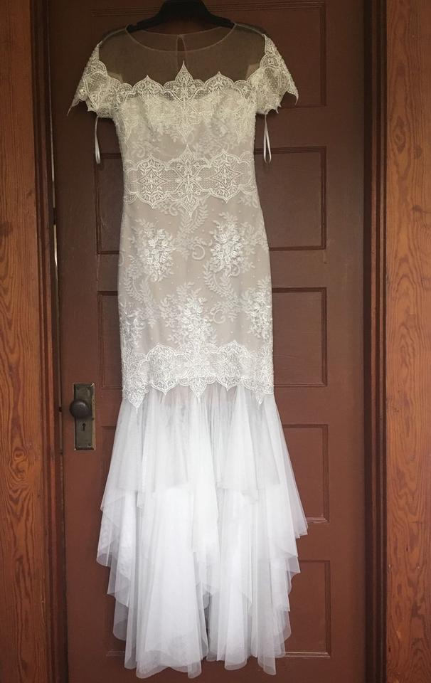Marchesa Notte Ivory Lace Mesh Women S Bridal Gown Wedding Dress Size 2 Xs