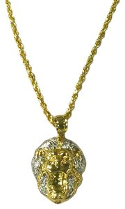 other 10 K Yellow Gold Rope Chain with Lion Head Pendant