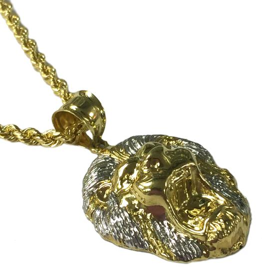 other 10 K Yellow Gold Rope Chain with Lion Head Pendant Image 1