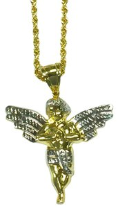 other 10K Yellow Gold Rope Chain with Angel Pendant