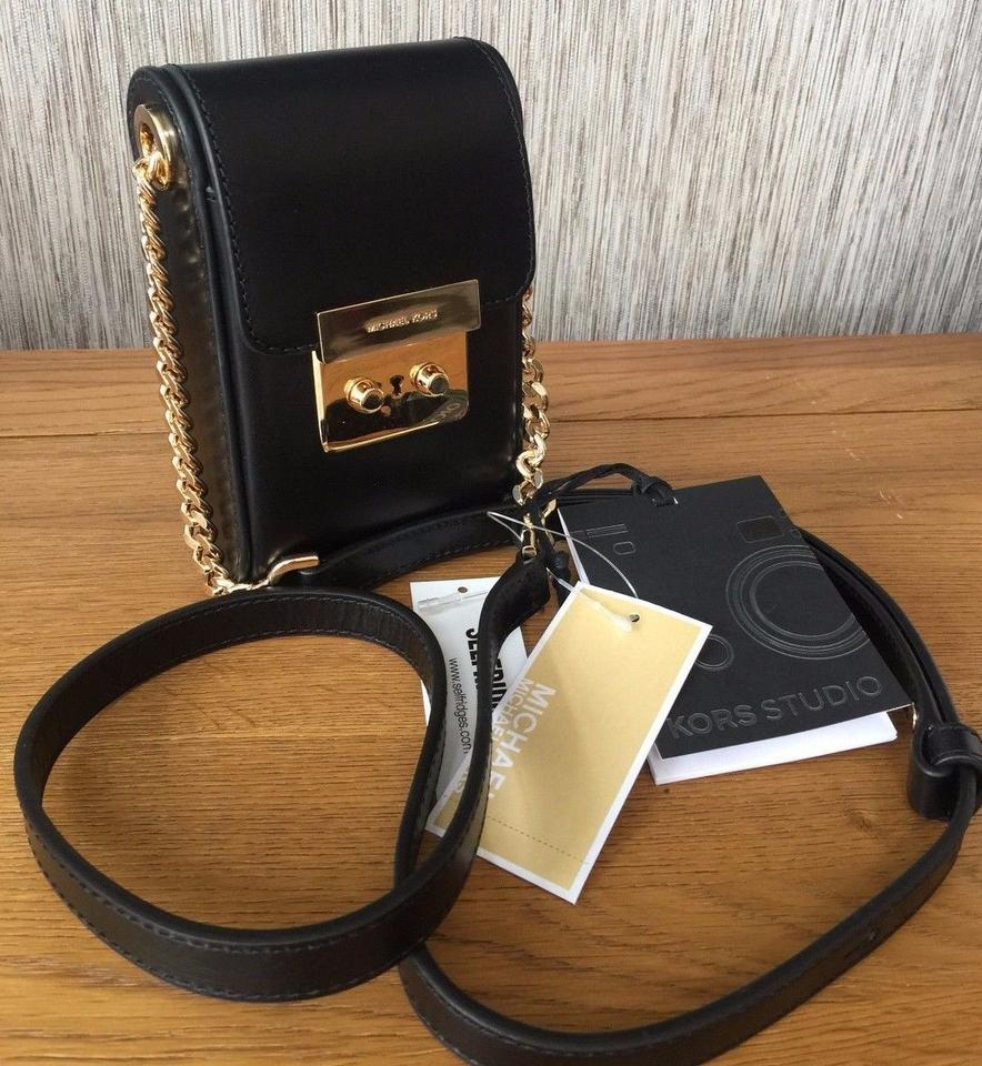 51a745549a26 Michael Kors Scout Collection Camera Black Leather Cross Body Bag ...