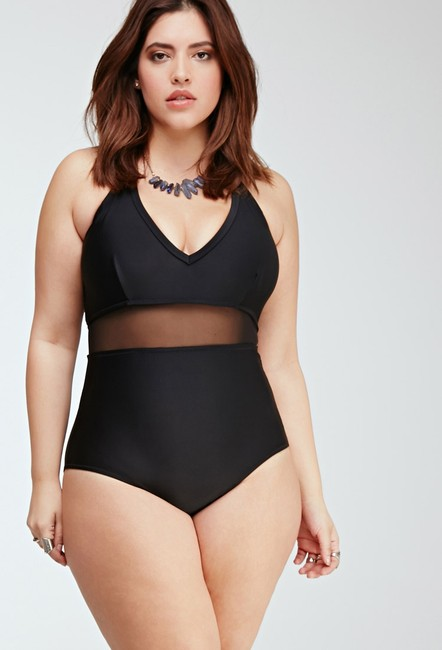 Forever 21 Forever 21 + Plus Size Black Halter Mesh One Piece Swimsuit 3X