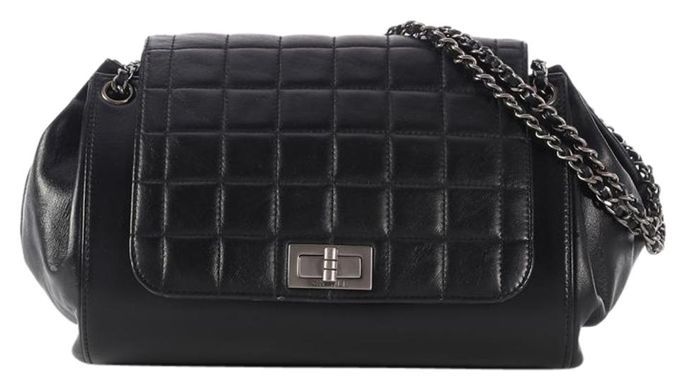937dd4997355 Chanel 2.55 Reissue Chocolate Bar Accordion Black Lambskin Leather ...