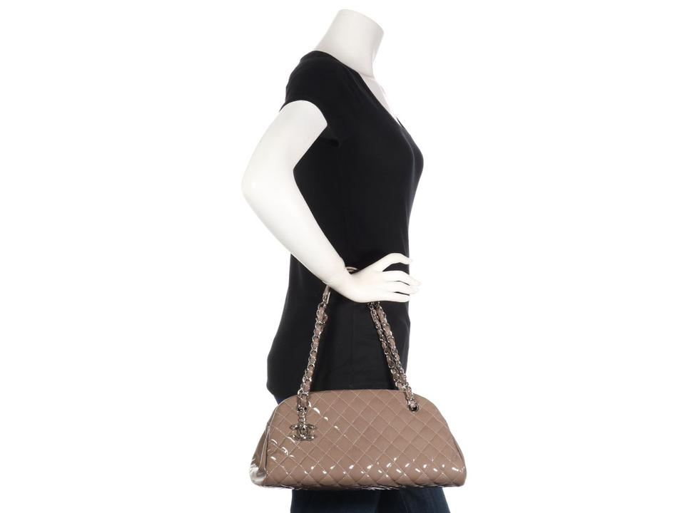 5ca53a73cbeb Chanel Mademoiselle Bowling Just Medium Taupe Brown Patent Leather ...