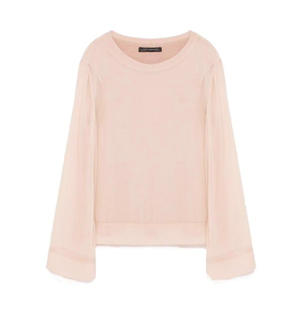 Zara Stretchy Lining Round Neck Ribbed Collar Long Sleeves Flowy + Breezy Top Pink