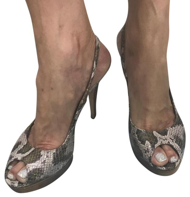 Item - Brown/Tan/Khaki Snakeskin Embossed Leather Slingback Nike Air Heels Platforms Size US 9.5 Regular (M, B)