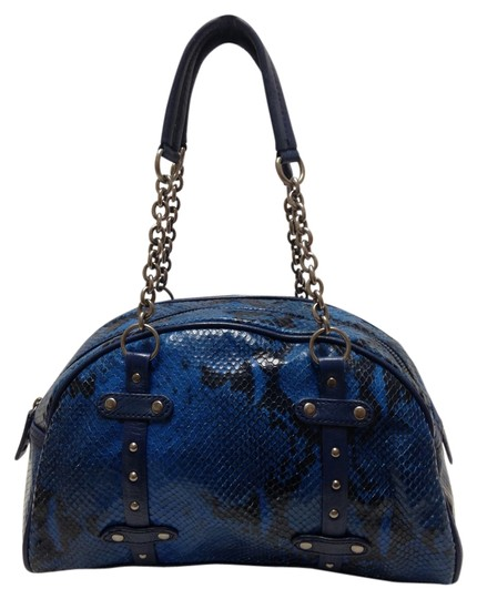 Preload https://item3.tradesy.com/images/cynthia-rowley-blue-and-black-snake-embossed-leather-satchel-2199112-0-0.jpg?width=440&height=440