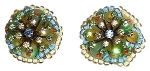 NEW WOT Clip Earrings Pastel Bead Cluster - One of a Kind - Handmade - Italian Boutique Find