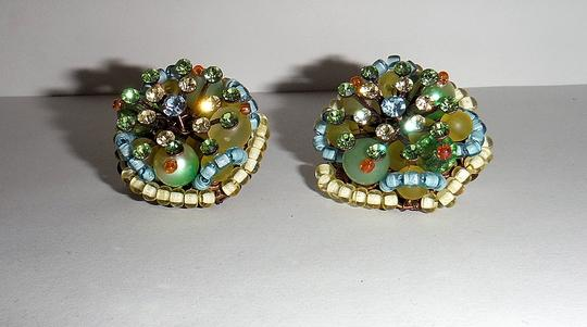 Other NEW WOT Clip Earrings Pastel Bead Cluster - One of a Kind - Handmade - Italian Boutique Find