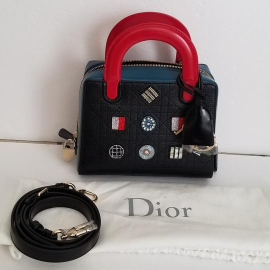 Dior Lily Lily Lambskin Purse Tote in red and black blue and colorful beads