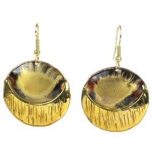 Brass Images Round Drop Earrings