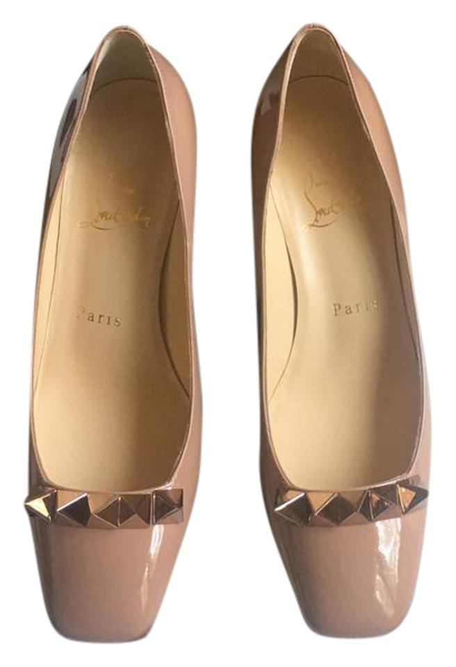 Christian Patent-leather Louboutin Nude Pyramidame 45mm Patent-leather Christian Pumps 557404