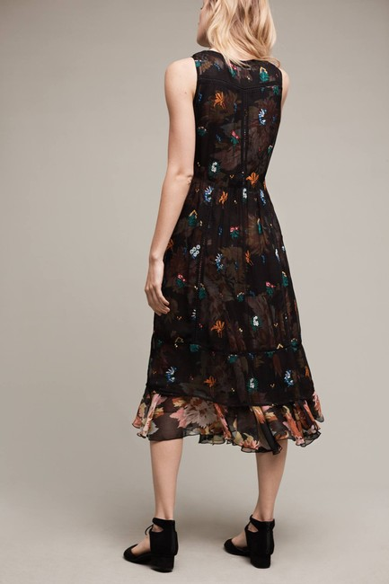 Anthropologie Two Piece Floral Embroidered Print Sleeveless Dress