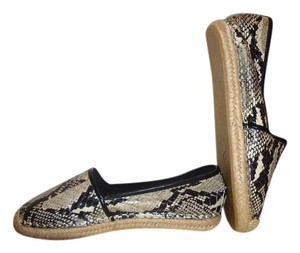 Brian Atwood Espadrille Snake Embossed Snakeskin Flats