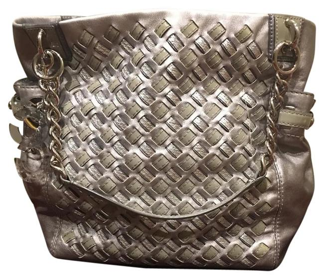 Item - Limited Addition Metallic Silver/ Gray Lambskin Leather Tote