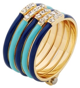 Pixie Grey Pixie Grey 14k Yellow Gold Blue Enamel Interlocked Stacking Rings