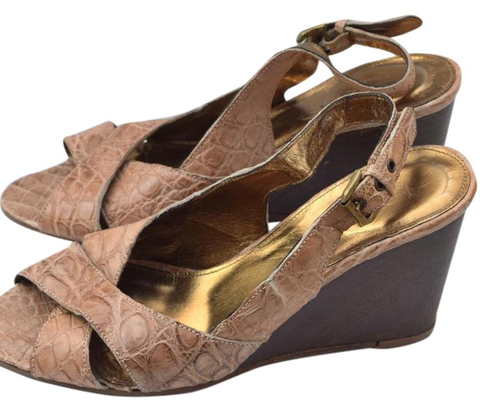 J.Crew Collection Croc Embossed Light Brown Collection J.Crew Wedges 9560ad