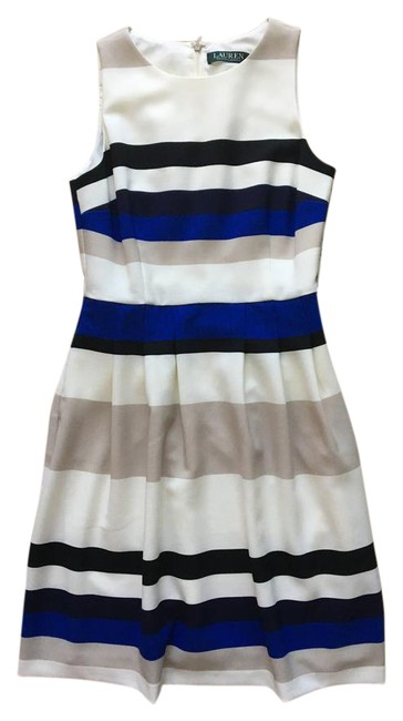 Preload https://img-static.tradesy.com/item/21992633/lauren-ralph-lauren-blue-tan-white-striped-251624983001-mid-length-workoffice-dress-size-petite-2-xs-0-1-650-650.jpg