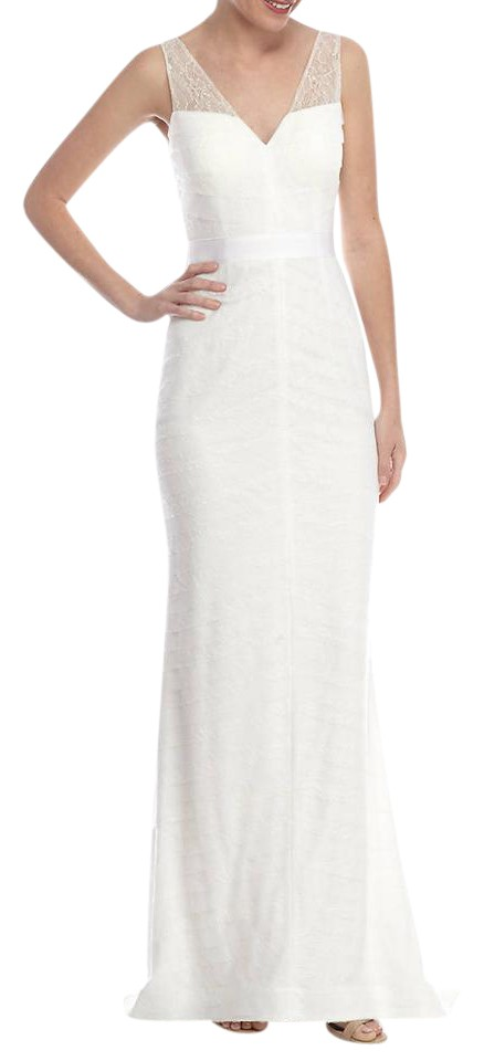 Adrianna Papell Tiered Lace Gown with Train Ivory Long Formal Dress ...