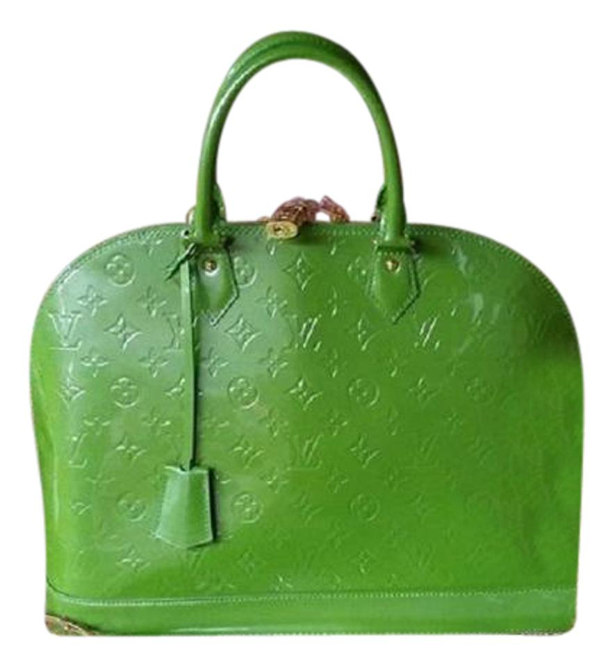 a062b50df30e Louis Vuitton Alma Gm Vert Tonic Green Monogram Vernis Leather Tote ...
